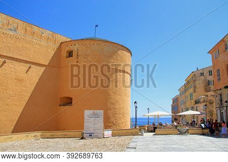 Bastia, Corsica, France - June, 02, 2019: The Governors Palace And Place Du Donjon Square, Restauran