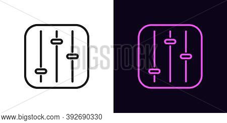 Outline Settings Panel Icon. Linear Customization Sign, Isolated Control Panel With Editable Stroke.