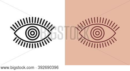 Outline Magic Eye Icon With Editable Stroke. Linear Eye Sign With Circle Iris, Spiritual Vision. Mys
