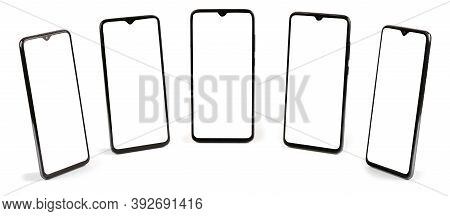 Black Mobile Smartphones With White Screen. Isolated On White Background. High Resolution Photo. Ful