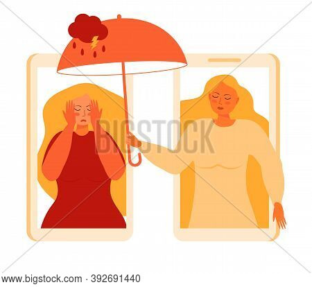 Panic Attack Of Woman Concept Vector. Sad, Crying Woman With Long Blond Hair. Doctor Of Psychiatry T