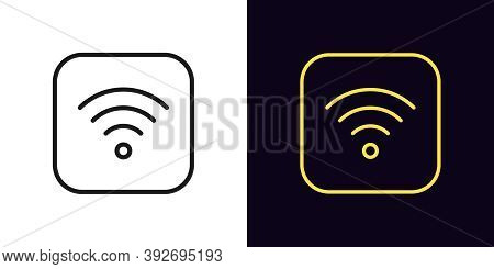 Outline Wifi Icon. Linear Wi Fi Sign, Wireless Internet Technology With Editable Stroke. Wifi Button
