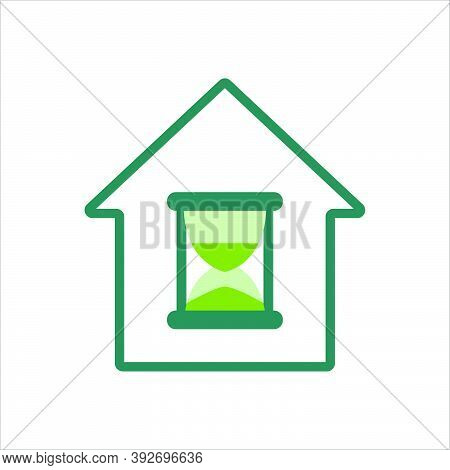 Home Icon. Home Icon With Sandglass. Home Icon Concept For Mobile And Web Design, Design Element. Ho