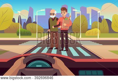 Pedestrian Crossing. Elderly Care, People Cross Road On Street, Car Inside View, Drivers Hands On Wh