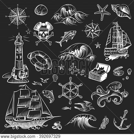 Pirate Sketch Set. Adventure Hand Drawn Collection. Retro Ship And Compass, Lighthouse And Octopus,