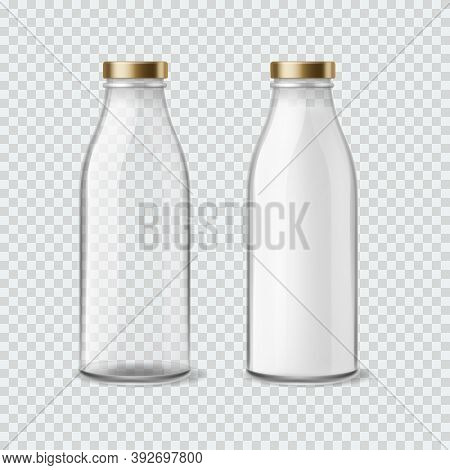 Milk Bottle. Realistic Empty And Full Bottles For Water, Juice And Liquids, Closed Packaging With Go