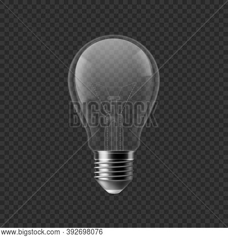 Realistic Bulb. Turned Off Isolated On Transparent Background 3d Lamp, Incandescent Or Fluorescent I