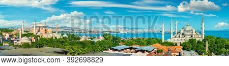 Panorama Of Istanbul With The View On Blue Mosque And Hagia Sophia Near Bosphorus, Turkey