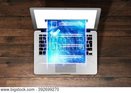 Online Voting, Hologram Ballot And Internet Voting Box In Laptop. Mixed Environment, E-voting Techno