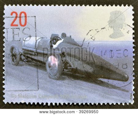 UNITED KINGDOM - CIRCA 1998: A stamp printed in Great Britain shows image of Sir Malcolm Campbell's