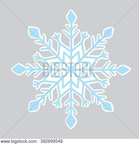 Christmas Sticker With Icy Snowflake, Holiday Element Ready For Print, Vector Illustration