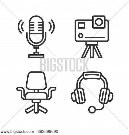 Video Blogger Ans Podcast Device Icons Set. Vector