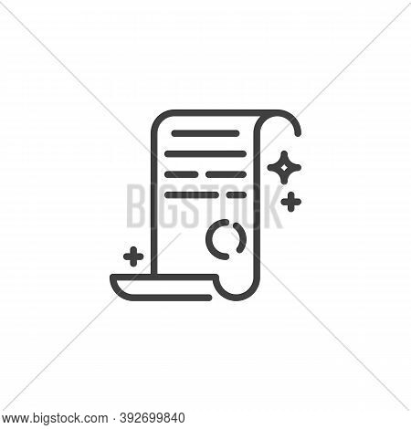 Magic Spell Paper Line Icon. Linear Style Sign For Mobile Concept And Web Design. Fantasy Spell Parc