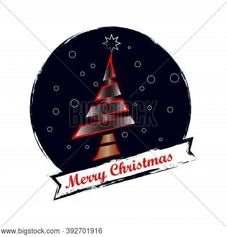Christmas Tree Use Line Style In The Night Circle With Lettering Marry Christmas