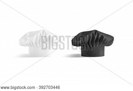 Blank Black And White Toque Chef Hat Mockup Stand, Isolated, 3d Rendering. Empty Head-cook For Culin