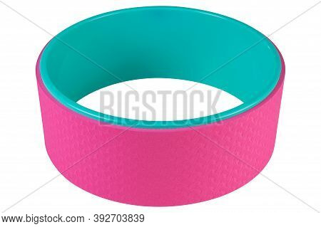 Colored Yoga Wheel, Turquoise And Pink, On A White Background