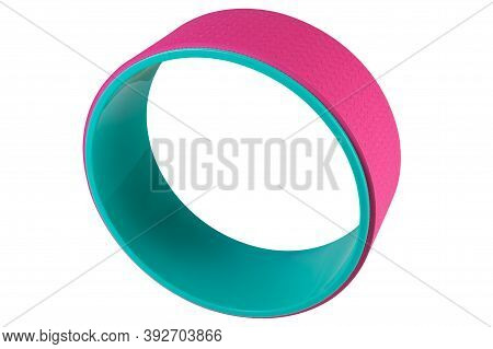 Colored Yoga Wheel, Turquoise And Pink, Stands Upright, On A White Background