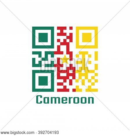 Qr Code Set The Color Of Cameroon Flag. A Vertical Tricolor Of Green, Red And Yellow, With A Gold St