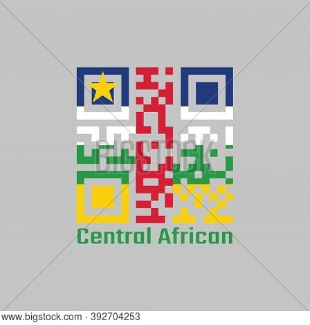Qr Code Set The Color Of Central African Flag. Horizontal Stripes Of Blue White Green And Yellow And
