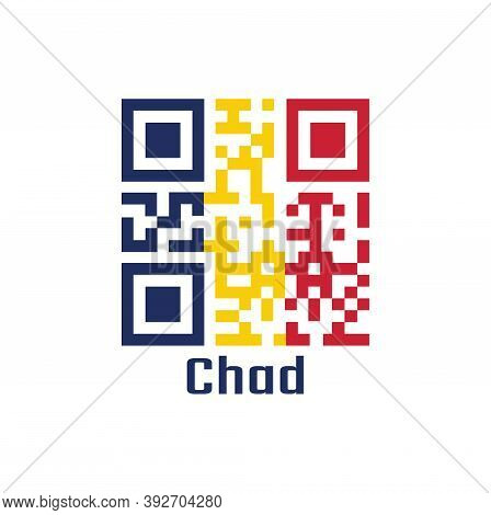 Qr Code Set The Color Of Chad Flag. A Vertical Tricolor Of Blue Gold And Red With Text Chad.
