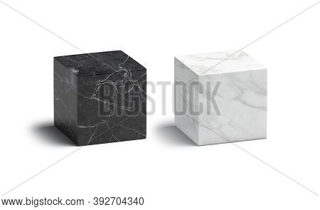 Blank Marble Black And White Cube Mockup Set, 3d Rendering. Empty Cuboid Geometric Form With Onyx St