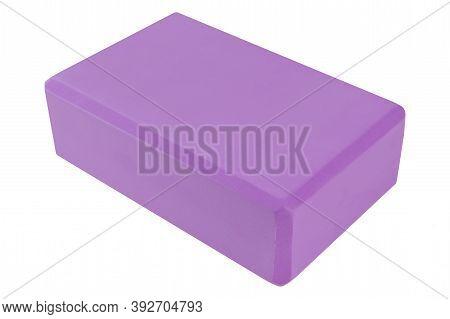 One Lilac Yoga Block, On White Background