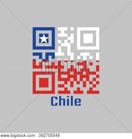 Qr Code Set The Color Of Chile Flag. A Horizontal Bicolor Of White And Red With The Blue Square On T