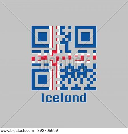 Qr Code Set The Color Of Iceland Flag. It Is Blue As The Sky With A Snow-white Cross, And A Fiery-re