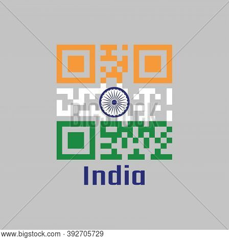 Qr Code Set The Color Of India Flag. It Is A Horizontal Rectangular Tricolor Of India Saffron, White