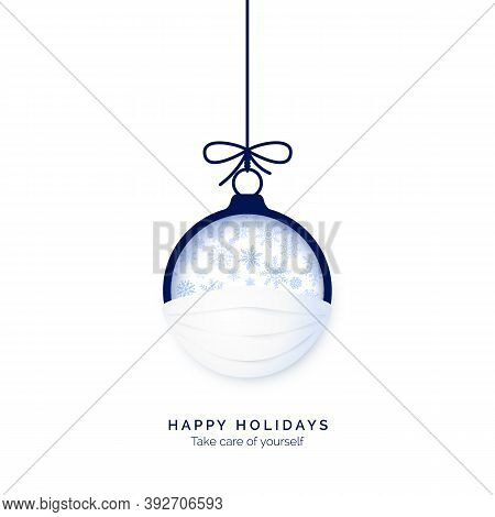 Blue Paper Cut Christmas Ball In Face Mask. Be Happy And Take Care Of Yourself In Holidays. Merry Ch