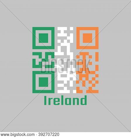 Qr Code Set The Color Of Ireland Flag. A Vertical Tricolor Of Green White And Orange. With Name Text