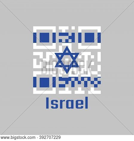 Qr Code Set The Color Of Israel Flag. It Depicts A Blue Hexagram On A White Background, Between Two