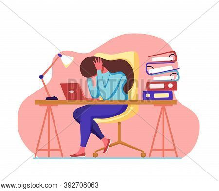 Professional Burnout Syndrome Exhausted Man Tired Sitting At Her Workplace In Office Holding Her Hea