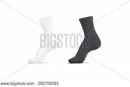 Blank Black And White Long Socks Mockup On Tiptoe, Isolated, 3d Rendering. Empty Loose Stockings Clo