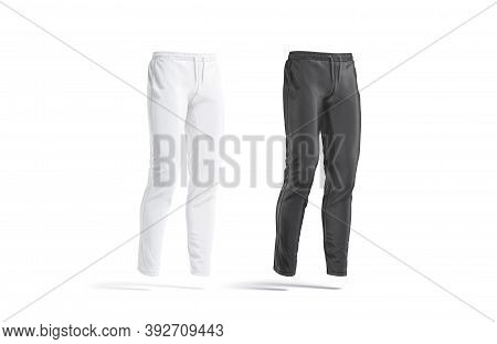 Blank Black And White Sport Pants Mockup, Side View, 3d Rendering. Empty Jogging Leggings Or Trackpa