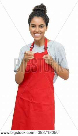 Beautiful Brazilian Waitress Or Female Clerk Isolated On White Background For Cut Out