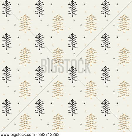 Christmas Seamless Vector Pattern With Doodle Trees. Xmas Winter Poster Collection. Can Be Used For