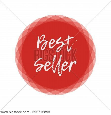 Best Seller Text Red Round Label. Design Element For Cover Books, Products Pack. Bestseller Word. Ha