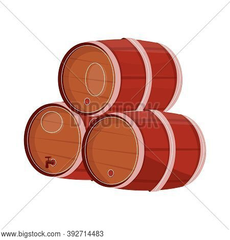 Beer Bar Set Flat Composition With Images Of Wooden Brewers Casks On Blank Background Vector Illustr