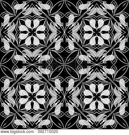 Paisley Black And White Floral Seamless Pattern. Ornamental Vector Ethnic Style Lines Background. Pa