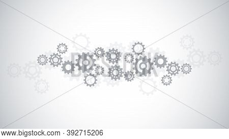 Cogs And Gear Wheel Mechanisms. Hi-tech Digital Technology And Engineering. Abstract Technical Backg