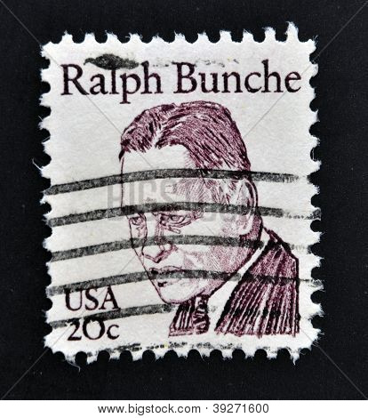 UNITED STATES OF AMERICA - CIRCA 1983: stamp printed in USA shows Ralph Bunche circa 1983