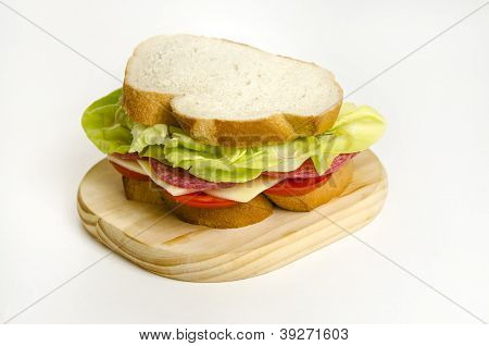Fresh Salami Yellow Cheese Sandwich with Lettuce and Tomatoes poster