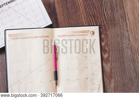 Calendar Desk And Pen For Planner And Organizer To Plan And Reminder Daily Appointment, Meeting Agen