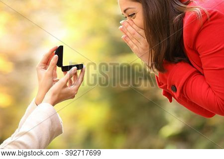 Side View Close Up Of A Couple Of Lesbian Women In Love During Marriage Proposal In A Park
