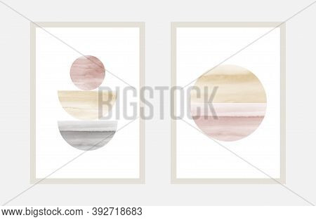 Creative Minimal Art With Watercolor Hand Painted For Wall Art Collection. Vector For Postcard Decor