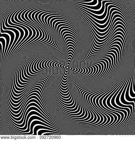 Abstract op art design. Illusion of whirl vortex movement. Wavy lines texture.