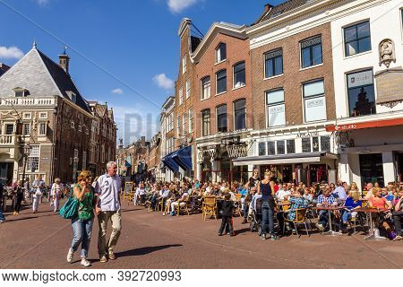 Haarlem, The Netherlands - 1 September, 2012:  Typical Bars With Medieval Architecture On September