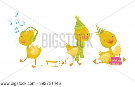Cute Yellow Duckling Pulling Sledge, Listening To Music And Celebrating Birthday Vector Set