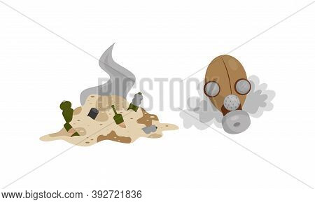 Pile Of Waste As Discharge Or Dumping Leading To Atmosphere Contamination Vector Set